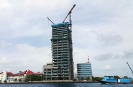 Ongoing construction of Dharumavantha Hospital, the new 25-storey state hospital being developed in Male.
