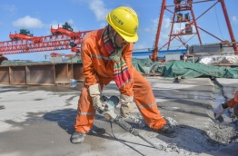 CCCC employee pictured at work on the China-Maldives Friendship Bridge.
