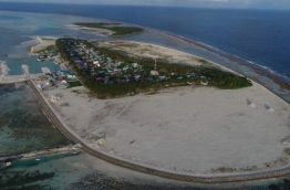 Aerial view of Th. Madifushi with its completed harbour.