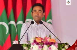 President Abdulla Yameen speaks at the inauguration of the fresh water supply system in Lh. Hinnavaru. PHOTO/PRESIDENT'S OFFICE