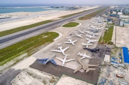 Aerial view of private jets parked at Velana International Airport on December 28, 2017. PHOTO/MACL