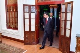 Japanese foreign minister Taro Kono pictured during his official visit to the Maldives on January 6, 2017. PHOTO/FOREIGN MINISTRY
