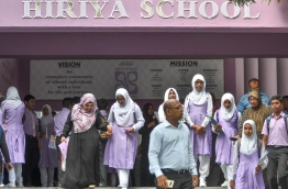 Hiriya School students and parents leaving after report collection. PHOTO: NSHAN ALI/MIHAARU