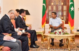 President Abdulla Yameen meets with Japanese foreign minister Taro Kono at the presidential palace on January 6, 2017. PHOTO/PRESIDENT'S OFFICE