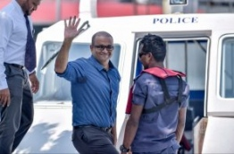 Former VP Ahmed Adheeb escorted back to prison after a court hearing. PHOTO: NISHAN ALI/MIHAARU
