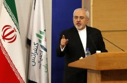 Iranian Foreign Minister Mohammad Javad Zarif speaks during the Tehran Security Conference on January 8, 2018, in Tehran. / AFP PHOTO / ATTA KENARE