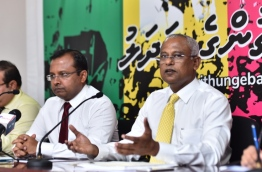 MDP PG's leader (R) Ibu and JP's Deputy Leader Riyaz in Monday's new conference