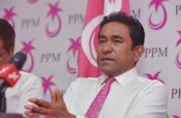 President Abdulla Yameen speaks at PPM press conference. PHOTO: HUSSAIN WAHEED/MIHAARU