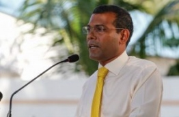 A file photo shows former president Nasheed speaking during a MDP rally. PHOTO/MDP