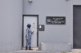 An officer of Maldives Correctional Service pictured outside Male Prison. PHOTO: NISHAN ALI/MIHAARU