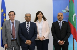 Maldives' special delegate to the European Union (EU) Ahmed Shian (R) with the Minister of Foreign Affairs Dr Mohamed Asim (Middle) and foreign delegates. / MIHAARU FILE PHOTO