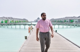 Jumhoory Party leader and local tycoon Qasim Ibrahim at Sun Island Resort, which is operated by his company Villa Hotels.
