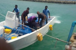 A youth who was killed in a similar accident last year near G. Dh. Vaadhoo being taken to the island on a dinghy --