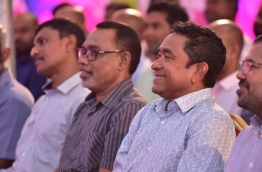President Abdulla Yameen pictured with members of the PPM leadership at a ruling party rally. PHOTO: NISHAN ALI/MIHAARU
