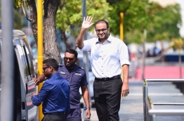 Former Vice President Ahmed Adheeb arriving for his court hearing. PHOTO/VIA MARIYAM NASHWA TWITTER