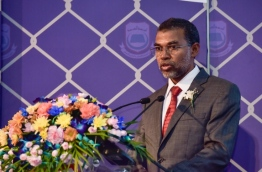 Ex Elections Commissioner Ahmed Sulaiman speaking at an event: His resignation was announced on January 31, 2018