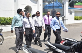 Lawmakers who were declared disqualified from the parliament by the Elections Commission are pictured leaving the Supreme Court. PHOTO: HUSSAIN WAHEED/MIHAARU
