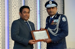 President Abdulla Yameen with axed Police Commissioner Ahmed Areef: he was dismissed after the police announced that it would uphold the Supreme Court's ruling late on February 1, 2018 to free all political prisoner and reinstate the 12 parliament members who were unseated following an earlier ruling on floor crossing --