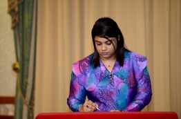 Prosecutor General Aishath Bisam signing her letter of appointment. PHOTO/PRESIDENT'S OFFICE