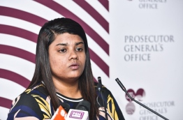 Prosecutor General Aishath Bisham speaking at a press conference --