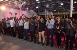 Ministers and PPM supporters during a ruling party rally. PHOTO: HUSSAIN WAHEED/MIHAARU
