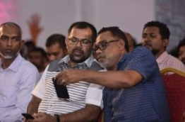 PPM deputy leader Abdul Raheem Abdulla R) with tourism minister Moosa Zameer at a ruling party rally. PHOTO: HUSSAIN WAHEED/MIHAARU