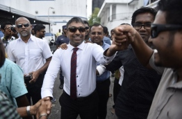 MP Ilham immediately after the Criminal Court ordered his release on February 2, 2018. MIHAARU PHOTO / HUSSEN WAHEED