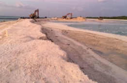 Land reclamation for the development of a domestic airport in Sh. Funadhoo. PHOTO/MTCC