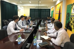 The EU delegation meeting with Maldives' opposition at Maldivian Democratic Party's (MDP) main office in the capital Male --