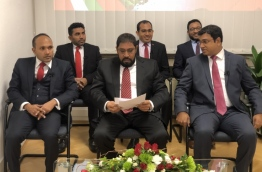 Former VP Mohamed Jameel (L) along with Mohamed Maleeh and Abdulla Ameen pictured with JP leader Qasim Ibrahim (C) after joining the opposition party in Germany.