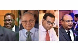 The four individuals being accused of bribery and conspiracy to overthrow the government: (From Left) Supreme Court Judge Ali Hameed, Former President Maumoon Abdul Gayyoom, Chief Judicial Administrator Hassan Saeed and Chief Justice Abdullah Saeed --