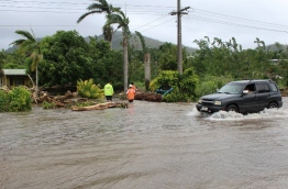 """Neighbouring Tonga declared a state of emergency on February 12 as the Pacific island kingdom braced for a direct hit by the powerful cyclone that is threatening to become a Category Five superstorm. / AFP PHOTO / SAMOA RED CROSS / Handout / -----EDITORS NOTE --- RESTRICTED TO EDITORIAL USE - MANDATORY CREDIT """"AFP PHOTO / SAMOA RED CROSS"""" - NO MARKETING - NO ADVERTISING CAMPAIGNS - DISTRIBUTED AS A SERVICE TO CLIENTS - NO ARCHIVES"""