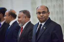 Chief Justice Abdulla Saeed pictured with other justices of the Supreme Court during a swearing-in ceremony of judges. PHOTO/MIHAARU