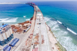 A photograph of the construction of the landmark Male-Hulhumale bridge posted by Housing Minister Dr Mohamed Muizzu on his Twitter account --