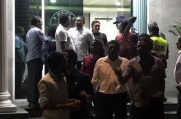 Mahloof coming out of the police station after his release.