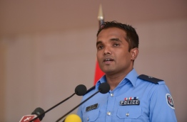 Superintendent of Police Ahmed Shifan speaks at press conference. PHOTO: HUSSAIN WAHEED/MIHAARU