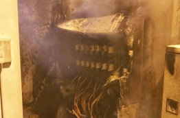 The distribution board that was set aflame in Male. PHOTO/MNDF