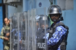Police special operations forces outside the house of parliament: MNDF forces were also outside the parliament with increased security ahead of the extraordinary parliamentary sitting held on February 19, 2018 to decide on the status of the state of emergency that was declared on February 5, 2018. MIHAARU PHOTO / HUSSEN WAHEED