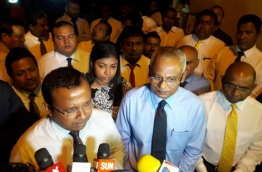 Opposition MP Ibrahim Solih (R) and MP Abdullah Riyaz speaking to the press after the extraordinary parliament sitting held Tuesday evening MIHAARU PHOTO / HUSSEN WAHEED