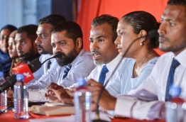 Lawyers at press conference regarding the parliament's decision to extend the state of emergency in the Maldives. PHOTO: NISHAN ALI/MIHAARU
