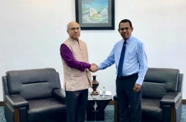 Indian Ambassador Akhilesh Mishra (L) meets with Foreign Secretary Ahmed Sareer to discuss India-Maldives ties. PHOTO/FOREIGN MINISTRY