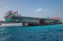 The China-Maldives Friendship Bridge being developed between Male and Hulhule. PHOTO/DR MOHAMED MUIZZU TWITTER