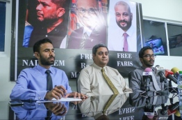 Lawyer Maumoon Hameed (C) along with the lawyers of Faris Maumoon and Mohamed Nadeem, speak at press conference regarding their clients' arrest and detention. PHOTO: NISHAN ALI/MIHAARU