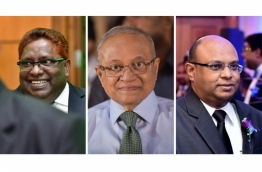 Composite image of Judge Ali Hameed (L), former President Maumoon Abdul Gayoom (C) and Chief Justice Abdulla Saeed. IMAGE/MIHAARU