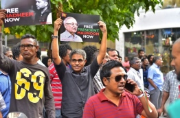 During the joint opposition protest on March 2, 2018. PHOTO: HUSSAIN WHAEED/MIHAARU