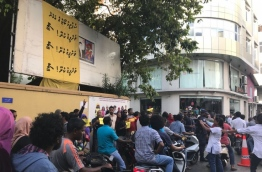 Supporters of opposition parties gathered on Majeedhee Magu in capital Male to protest the government's refusal to enforce the Supreme Court's landmark ruling of February 1 to release political prisoners.