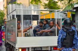 Opposition protestors in a police vehicle during the protest in the capital Male's main road 'Majeedhee Magu' on March 2, 2018. MIHAARU PHOTO / HUSSEN WAHEED