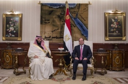 "A handout picture released by the Saudi Royal Palace shows Egyptian President Abdel Fattah al-Sisi (R) meeting with Saudi Arabia's Crown Prince Mohammed bin Salman upon his arrival in Cairo on March 4, 2018. / AFP PHOTO / HO / RESTRICTED TO EDITORIAL USE - MANDATORY CREDIT ""AFP PHOTO / SAUDI ROYAL PALACE"" - NO MARKETING NO ADVERTISING CAMPAIGNS - DISTRIBUTED AS A SERVICE TO CLIENTS"