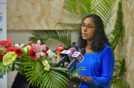 The head of Child Health at IGMH, Dr. Niyasha Ibrahim, speaks at ceremony held to mark World Birth Defects Day on March 3, 2018. PHOTO: HUSSAIN WAHEED/MIHAARU