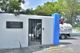 MRDC's former site, now with a signboard of the housing ministry's Public Works Services. PHOTO: HUSSAIN WAHEED/MIHAARU